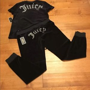 Juicy Couture Gothic Crystal velour top & jogger L